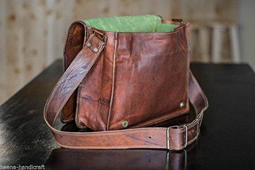 Genuine Leather Messenger Bag for Men Laptop Bag Crossbody Shoulder bag Handmadecraft Leather Unisex Real Leather Briefcase Satchel(10 x 13 )