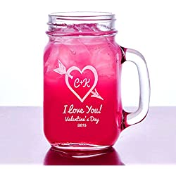 Romantic Couples Heart Engraved Mason Jar Mug Personalized 16 Oz Drinking Glass Etched with Name and Date © Custom Engraved Glasses By Stockingfactory