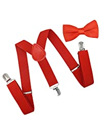 Brooben Child Kids Suspenders Bowtie Set - Adjustable Length Suspender with Bow Tie Set for Boys and Girls SPBT1-RED