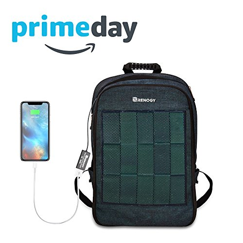 Renogy Solar Panel Powered Backpack Water Resistant Laptop Bag 20L Capacity 5.6W with USB Charging Port Catonic Dyed Polyster for Business Travelling Hiking iPhone Samsung iPad 15.6 Inch Notebook ()