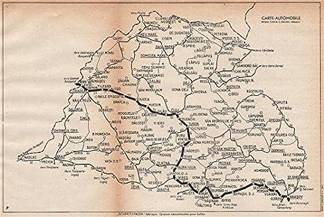 Romania Vintage Cartina Stradale. Regele Carol II. Oradea Brasov U2013 1938 U2013  Old