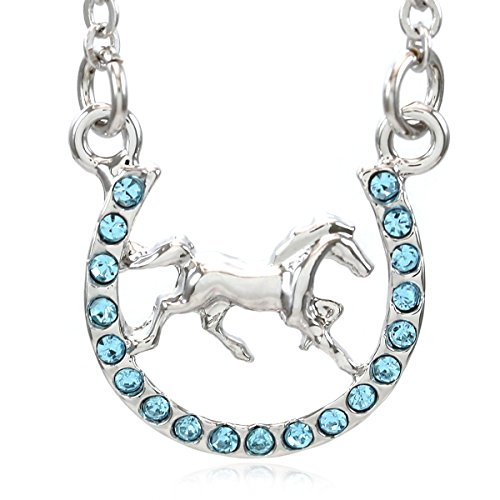 Horse Mustang Pony Horseshoe Necklace Pendant Lucky Charm Western Cowboy Cowgirl (Aqua Blue) - Cowgirl Costume Jewelry