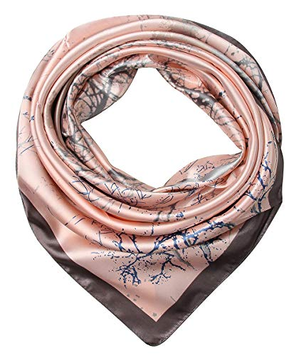 (Women's Satin Square Silk Feeling Hair Scarf 35 x 35 Trees Davy Grey and Apricot by corciova)