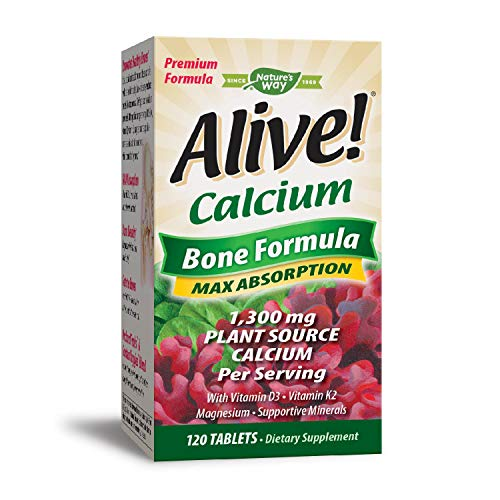 - Nature's Way Alive!® Calcium Bone Formula Supplement (1,300mg per serving), 120 Tablets (Packaging May Vary)