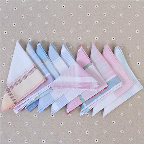 Gold Happy 5Pcs Multicolor Plaid Stripe Men Pocket Squares Business Chest Towel Pocket Hanky Handkerchiefs Hankies Scarves 100% Cotton by Gold Happy