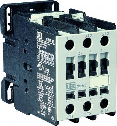 WEG Electric CWM40-00-20V24, 2-Pole, 40 Amps, 220-240VAC Coil, IEC Contactor