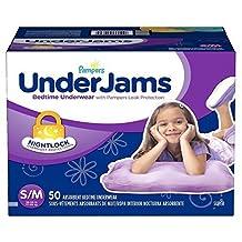 Pampers Underjams Absorbent Nightwear Size 7, Big Pack Girl, 46 Count New by Underjams