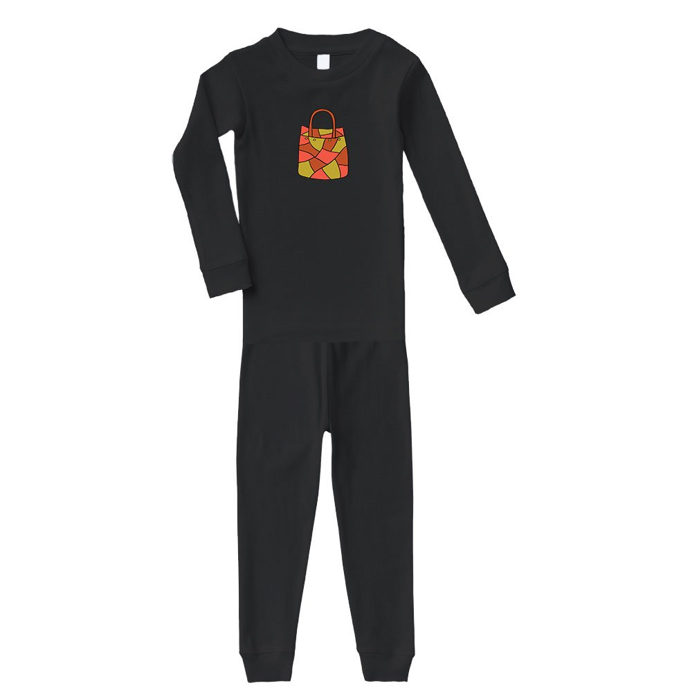 Cute Rascals Purse Big Cotton Long Sleeve Crewneck Unisex Infant Sleepwear Pajama 2 Pcs Set Top and Pant - Black, 12 Months
