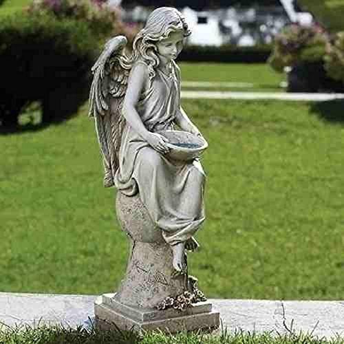 Roman – 21″H SOLAR ANGEL ON PEDESTAL