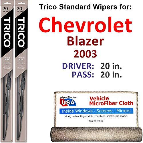 Wiper Blades for 2003 Chevrolet Blazer Driver & Passenger Trico Steel Wipers Set of 2 Bundled with Bonus MicroFiber Interior Car ()