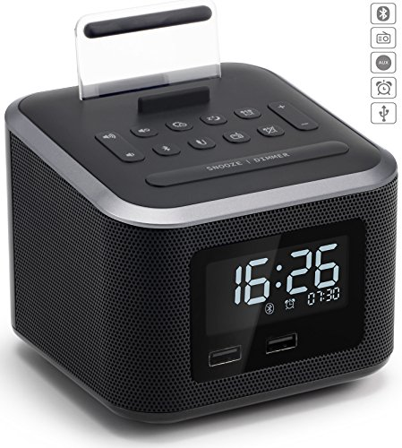 Alarm Clock Radio,Wireless Bluetooth Speaker,Digital Alarm Clock USB Charger for Bedroom with FM Radio/USB Charging Port/AUX-IN and Cell Phone Stand/Snooze/Dimmer/Battery Backup - Cellular Radio