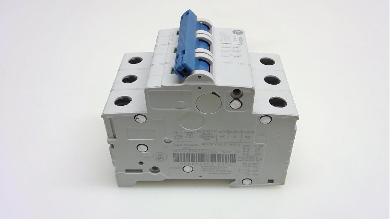Allen Bradley 1492-Spm3c060, Series D, Circuit Breaker, 3 Pole, 6A 1492-Spm3c060 Series D
