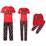 Bhwin Family Matching Christmas Pajamas Set Short Sleeve Xmas Sleepwear Set (L, Mom)