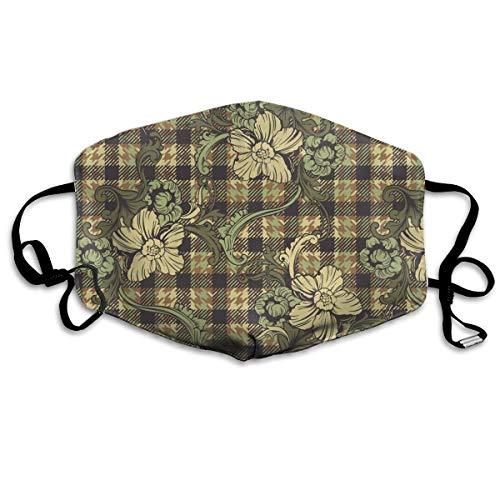 SyjTZmopre Plaid-with-Flowers_1015-120 Mouth Mask Unisex Printed Fashion Face Anti-dust -