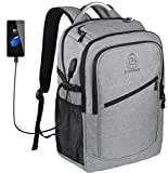 Laptop Backpack,School College Bookbags with USB Charging Port Men/Women Travel Backpacks fits up to 17.3 Inch Laptop/Notebook,Water Resistant,Grey