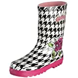 Kidorable English Roses Houndstooth Rain Boot (Toddler/Little Kid/Big Kid),Black/White,4 M US Big Kid