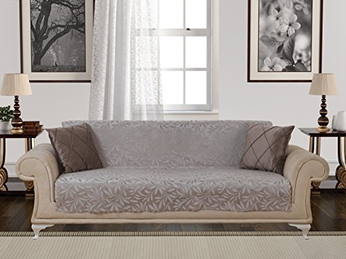 Bed Settee (Anti-Slip Armless 1-Piece Sofa Throw Slipcover for Dogs Pets Kids Non-Slip Furniture Cover Shield Protector Fitted 2 & 3 Cushion Couch Futon Sectional Recliner Seater Acacia Sofa Light Taupe)