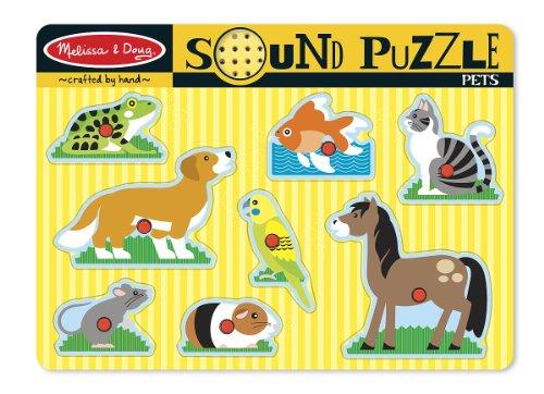 Melissa & Doug 10730 Pets Sound Puzzle - Wooden Peg Puzzle with Sound Effects (8 pcs)