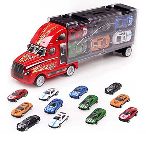 JSM Children Birthday gift Portable Container Truck Toy Cars 12 Alloy Car Model