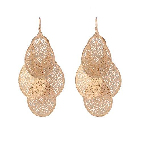 (Grace Jun Bridal Vingtage 4 Teardrop Shape Pierced Dangle Earrings Large Statement Earrings (Gold))