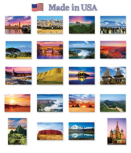 - THE WORLD postcard set of 20. Post card variety pack of various countries views postcards. Made in USA.