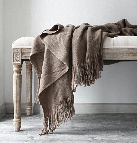 LAGHCAT Solid Blanket Cross Woven Couch Throw Knitted Blankets Decorative Fringe Lightweight Bed Sofa Decorative,51 x 67