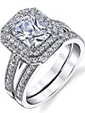 2 Carant Emerald Cut Sterling Silver and Cubic Zirconia Wedding Ring Engagment Band, Bridal Set SZ 6