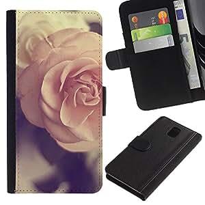 LASTONE PHONE CASE / Lujo Billetera de Cuero Caso del tirón Titular de la tarjeta Flip Carcasa Funda para Samsung Galaxy Note 3 III N9000 N9002 N9005 / rose vignette pink vintage spring love