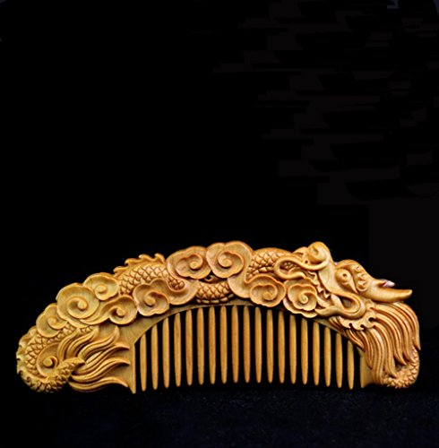 Wooden Comb - Anti Static Mini Hair Comb for Women - Natural Wood Comb for Men Beard, Mustache- Vintage Chinese Artwork Craft - Chinese Dragon