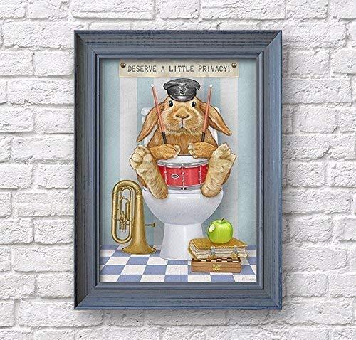 Bathroom wall decor, rabbit poster, bunny artwork for children, WC print