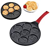 SOHAPY Emoji Non-Stick Pancake mold Pan maker Egg poacher cooker Fried Egg Molds with 7 Unique Flapjack Faces and Silicon Handle Aluminum Smiley Face Prime Housewarming Wedding kids Gift (emoji)