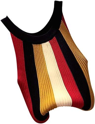 Luckycat Camisetas de Tirantes para Mujer Sin Mangas De Punto Chaleco Top De Cuello Redondo Suéter a Raya Camisa Blusa Casual Blusas: Amazon.es: Ropa y accesorios
