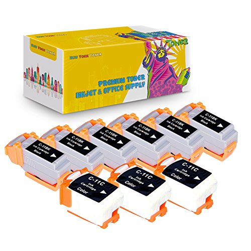 New York TonerTM New Compatible 9 Pack 6 BCI-11BK Black 3 BCI-11C Color High Yield Inkjet For Canon - BJCAN-70 . -- Black - Bci Inkjet 11bk
