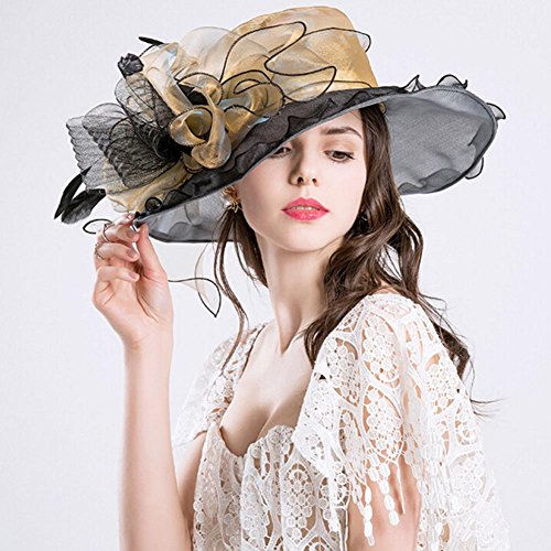 Mai Yi Women's Church Hat Kentucky Derby Hats Organza Tea Party Wedding Hat