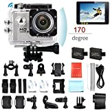 PINGKO F71 Sports Action Camera,WiFi Full HD 1080P 30fps 12MP 2.0'' LCD Screen 170 Degree Wide Angle Lens Underwater Diving Camera 2pcs Batteries
