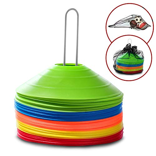 50 Training Disc Cones Sports Equipment – Carry Bag, Mesh Ball Bag And Metal Holder Included | Use For Sports Training, Soccer and Football Drills, Soccer Cones, Agility Training, and Field Markers