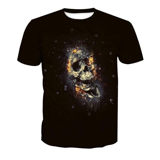 Wehor 3D Camisetas para Hombre Manga Corta Casual Camisa de Polo Algodón Suave Secado Rapido Sudadera Calavera De Llama S-XXL: Amazon.es: Ropa y accesorios