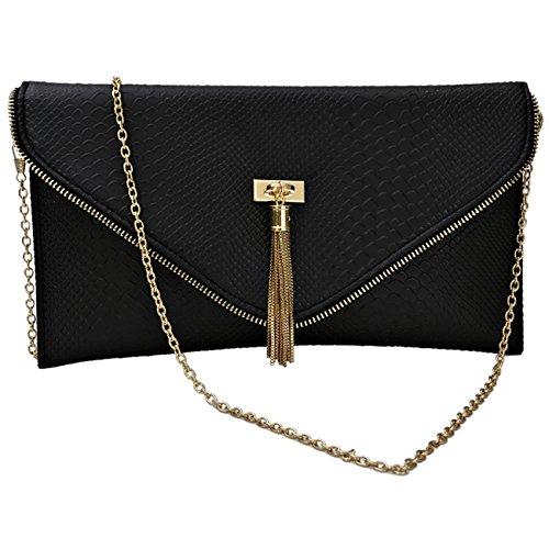 Leather Black Imprimer d'embrayage Envelope Croc Animal Design Smart Sac main à Womens Faux 2 1xwO4qXnFB
