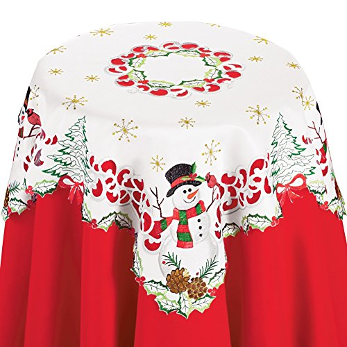 (Collections Etc Christmas Snowman and Cardinal Cutout Table Linens with Pinecones, Christmas Trees, and Bows- Holiday Decor for Dining Room,)