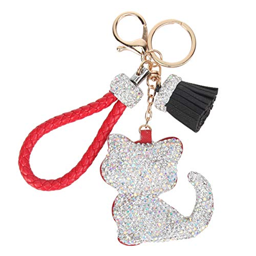 Fawziya Crystal Tassel Keychains Cat-Red from Fawziya