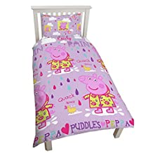 Peppa Pig Childrens Girls Official Puddles Reversible Single Duvet (Twin) (Lilac)