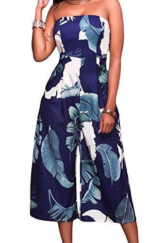Jumpsuit Women Leaf s Dark Blue Romper Strapless Capris Dress Roswear Print 0EdU6wEq