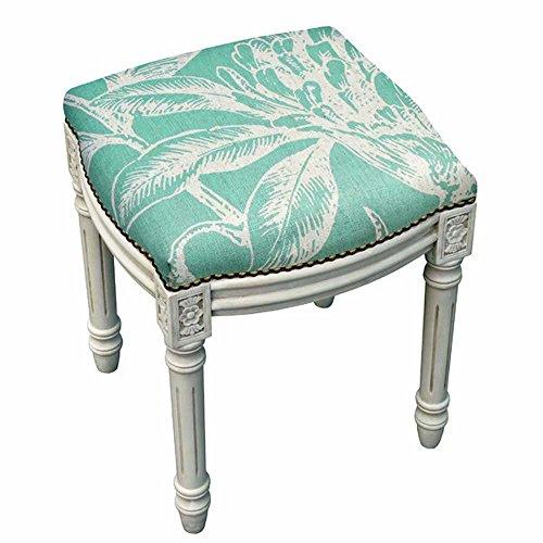 Kensington Bedroom Collection - Kensington STOOLS - HYDE PARK BOTANICAL UPHOLSTERED STOOL - VANITY SEAT - AQUA LINEN SEAT CUSHION