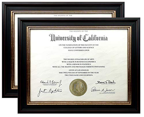 Onuri Inc - Luxurious Document Frame (2-Pack) - Classic 8.5x11 Picture Frame for Diploma Documents and ()