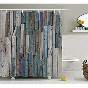 Wooden Shower Curtain Set By Ambesonne, Blue Grey Grunge Rustic Planks Barn  House Wood And Nails Lodge Hardwood Graphic Print, Fabric Bathroom Decor  With ...