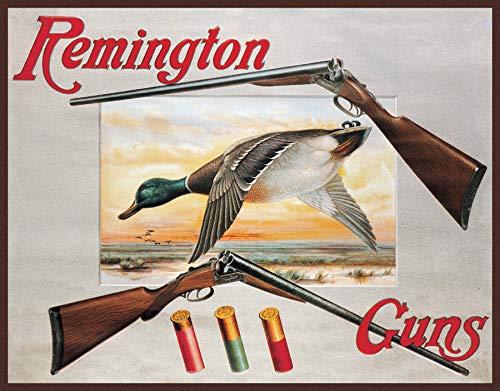 (Desperate Enterprises Remington 2 Shotguns & Duck Tin Sign, 16
