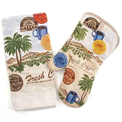 Amazon.com: Fresh Coffee Palm Trees 2 Piece Kitchen Towel ...