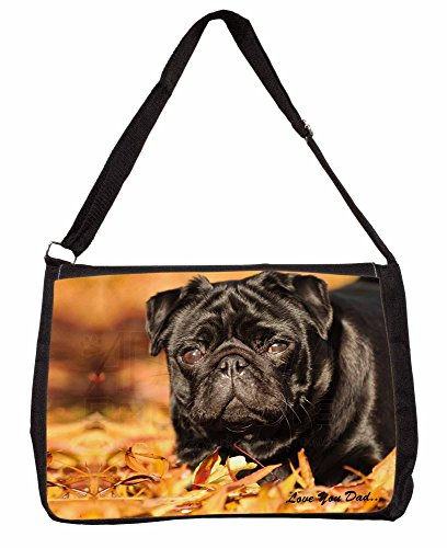 Black Pug Love You Dad Large 16 Black School Laptop Shoulder Bag x6bhqtn45