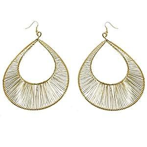 Pendientes, metal, diseño de gotas e hilos dorados 10 cm-Bijoux Fantaisie para mujer