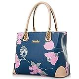 MICOM Womens Vintage Shoulder Bag All-Over Flowers PU Leather Tote Purse Cross Body Handbag (Blue)